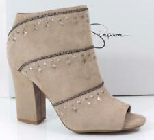 Jessica Simpson Midara Studded Peep Toe Booties Heels Micro Suede Taupe Size 9.5