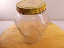 """Vintage Mid-Century Kroger brand clear glass peanut butter jar 9-883 7"""" Tall"""