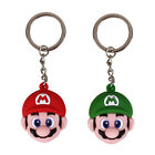 New Solid Super Mario Face Head Rubber Red/Green Random Keyring Keychain Party