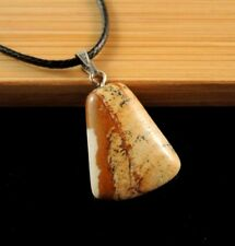 Natural Picture Jasper Gemstone Pendant on a Black Cord Necklace #865