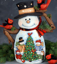 Ceramic Bisque Ready to Paint Large Papa Snowman with Scene ~Clipin light incl.