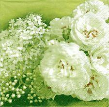 2 pcs Single Paper Napkins For Decoupage Craft White roses