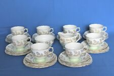 Vintage Colclough bone china green & gold tea set - 26 pieces Pattern No. 7041