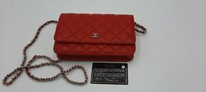 CHANEL Crossbody Bag with Mini Clutch Chain Lamb Leather Purse Red