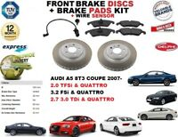 FOR AUDI A5 COUPE 2007-2012 FRONT BRAKE DISCS SET + DISC PADS KIT + WIRE SENSOR