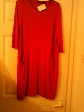 join clothes medium red tunic/dress with pockets and seam detail 3/4 sleeves.