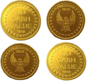 NEW GENUINE L1 EAGLE FREEDOM BRASS TOKENS EMBOSSED 2010  FOR SUNBED METERS ETC