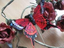 Authentic Coral Red Patterned Feather Butterfly - 8.0cm wingspan