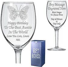 Grabado Cristal Del Vino-Hermana-Tía-Tía - sobrina-Regalo De Cumpleaños-Presente