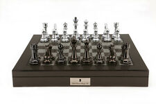 Dal Rossi Italy L2061DR Premium Chess Set with 20 inch Carbon Fibre Style Gloss Finish Box