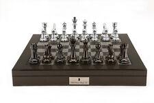 Dal Rossi Italy Silver/Titanium Chess Set on Carbon Fibre Shiny Finish Chess Box