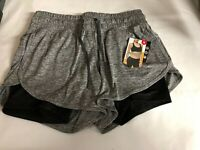 Avia Grey/Black 2 in 1 Running Shorts with Pockets And Compression Small 4-6 New