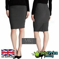 Grey Charcoal M&S Front Twin Zip Pockets Work Pencil Skirt Size 14 Marks Spencer