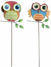 Metal Owl Garden Stake Outdoor Yard Lawn Ornaments Plant Pot Flower Bed Decor Ch