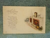 Vintage Postcard A Bright And Happy New Year, Fireplace Scene