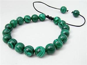Men's Macrame beaded bracelet all 10mm Malachite gemstone beads