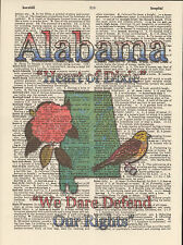 Alabama State Map Symbols Altered Art Print Upcycled Vintage Dictionary Page