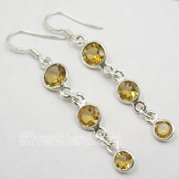 """tcw 5.8 FACETED YELLOW CITRINE 3 STONE .925 SOLID Silver Wedding Earrings 2.2"""""""