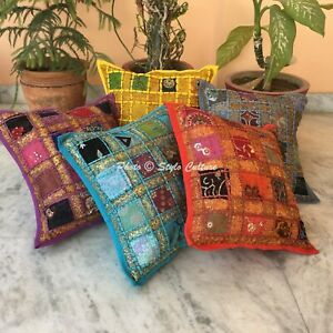 "5pcs Wholesale Lot  Cushion Cover Indian Patchwork Pillow Case Cover 16"" Throw"