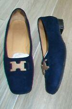 Hermes-navy suede flats/shoes.EU 38.Slightly used.