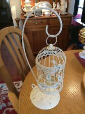 A CREAM AND BRUSHED GOLD BIRDCAGE WITH ROSE CANDLE HOLDER #FR