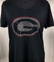 Women's Georgia Bulldogs Rhinestone Football V-neck T-Shirt Tee Bling Lady