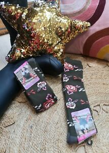 FUN NOVELTY FLORAL GREY LONG WELLY BOOT SOCKS 1 Pair Warm Cosy Soft Size4-7