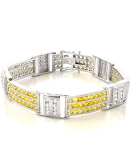 925 Sterling Silver Iced Out Yellow Cubic Zirconia Princess Cut Mens Bracelet 8""