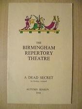 B'Ham Repertory Theatre Programme 1958- A DEAD SECRET by R Ackland