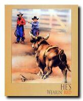 Western Rodeo Cowboy Bull Clown Wall Decor Art Print Poster (16x20)