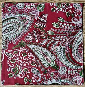 """NEW Set/4 Placemats Chargers 15"""" Square Paisley Red Tan Green Holiday Christmas"""