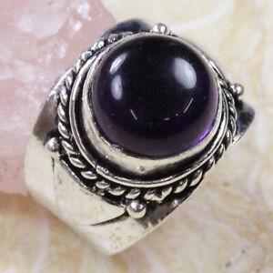 Amethyst 925 Silver Plated Handmade Gemstone Ring US Size 8.25 Ethnic Gift