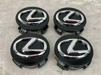 4x WHEEL RIM CENTER HUB CAP GLOSS BLACK CHROME LOGO 62MM FITS LEXUS 2006-2020