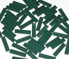 Lego Lot of 50 Dark Green Tiles 1 x 4 Flat Smooth Pieces Parts