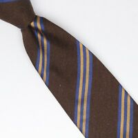 John G Hardy Mens Silk Necktie Brown Navy Blue Gold Repp Stripe Weave Woven Tie
