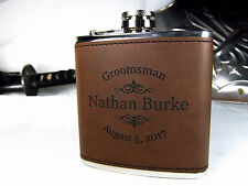 Personalized Engraved Brown Leather Hip Flask Custom Groomsmen Gifts ETY