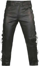 Mens LEATHER MOTORCYCLE TROUSERS Classic Cowhide Black BIKER JEANS Laces