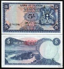 UGANDA 5 SHILLINGS P1 ND (1966) 1st BANK NOTE CRANE WATER FALLS UNC MONEY BILL