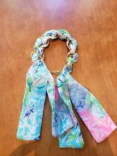 Lilly Pulitzer BOHEMIAN QUEEN Fabric Wrapped Bracelet Hammered Gold Rings Charm