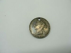 1871 Canada Silver 50 Cents Canadian Coin Holed for Jewelry.