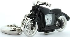 NEW GENEVA 3D BLACK & SILVER MOTORCYCLE KEY CHAIN RING, FOB WATCH