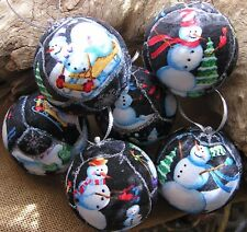 Set of Six Snowmen Christmas Tree Ornaments Unique Handmade Christmas Keepsakes