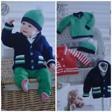 Baby KNITTING PATTERN Babies Easy Knit Jackets Jumper & Hat Aran KingCole 4948