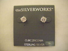 New Sterling Silver Cubic Zirconia Belk Stud Earrings