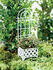 White Mini Trellis Planter