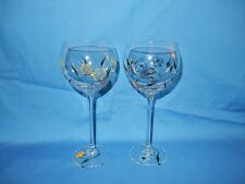 """Set of 2 Hand Painted Flower Block? 8 3/4"""" 15 oz Crystal Balloon Goblets Glasses"""