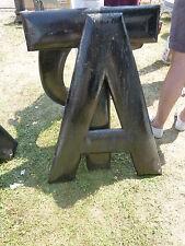 "huge ANTIQUE c1910-1920's BLACK wooden letter symbol A ~ 36"" x 28.5"" x 1.5"""