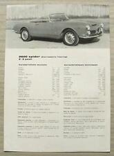 ALFA ROMEO 2600 SPIDER Car Sales Specification Leaflet Dec 1964