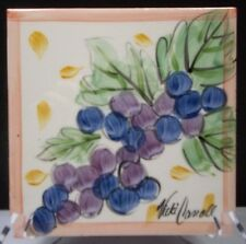 "Pre-Owned Vicki Carroll Trivet 6"" Square Grapes Signed Southern Pottery Kitchen"