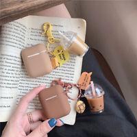 Creative Unique Milk Tea Bubble Key Chains Personality Drink Girl Funny Jewelry;